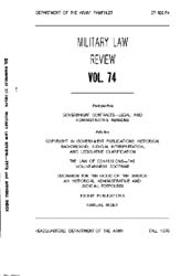 Military Law Review : October 1976 ; Vol... by Department of the Army, Headquarters