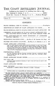 Coast Artillery Journal; May 1930 Volume 72, Issue 5 by Bennett, E. E.