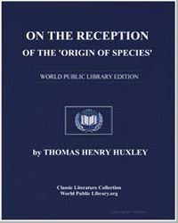 On the Reception of the 'Origin of Speci... by Huxley, Thomas Henry