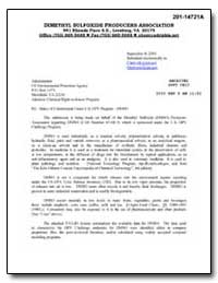 Dimethyl Sulfoxide Producers Association by Environmental Protection Agency