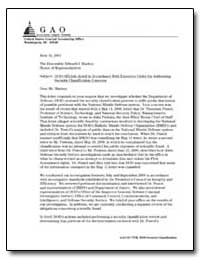Dod Officials Acted in Accordance with E... by Hast, Robert H.
