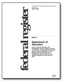 Department of Education [Cfda Nos. : 84.... by Heumann, Judith E.