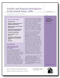 Fertility and Program Participation in t... by Dye, Jane Lawler