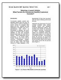 Selecting a Launch Vehicle : What Factor... by Federal Aviation Administration