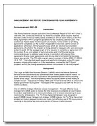 Announcement and Report Concerning Pre-F... by United States Department of the Treasury