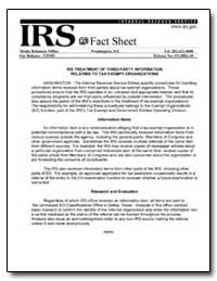 Irs Treatment of Third-Party Information... by United States Department of the Treasury