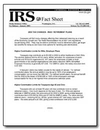 2002 Tax Changes : Iras/Retirement Plans by United States Department of the Treasury