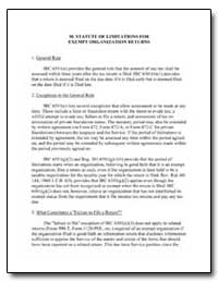 M. Statute of Limitations for Exempt Org... by United States Department of the Treasury
