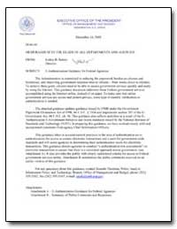 E-Authentication Guidance for Federal Ag... by Bolten, Joshua B.
