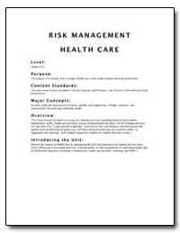 Risk Management Health Care by Department of Health and Human Services