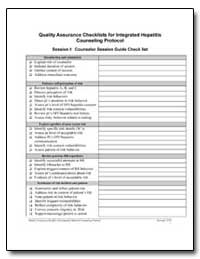 Quality Assurance Checklists for Integra... by Department of Health and Human Services