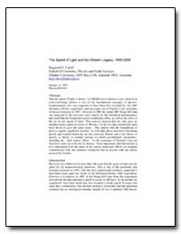 The Speed of Light and the Einstein Lega... by Cahill, Reginald T.