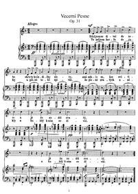 Evening Songs (Vecerní pisné) : Nos.7 to... Volume B.61 (Nos.1–12) ; Op.3 (Nos.1–4), Op.9/3–4 (Nos.5–6), Op.31 (Nos.7–11) by Dvořák, Antonín