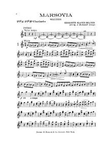Marsovia Waltzes : Clarinet 2/3 ♭) by Blanke-Belcher, Henriette