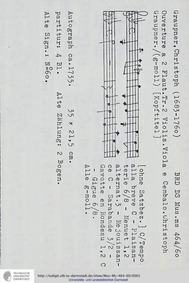 Ouverture in G minor, GWV 470 : Complete... Volume GWV 470 by Graupner, Christoph