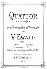 String Quartet, Op.1 : Complete Score Volume Op.1 by Ewald, Victor