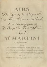 Airs du droit du seigneur et 3 romances ... by Martini, Jean Paul Egide