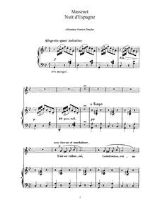 Nuit d'Espagne : Complete Score (G minor... by Massenet, Jules