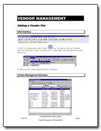 Vendor Management by
