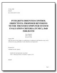 Integrity-Oriented Control by Mayfield, Terry