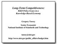 Long-Term Competitiveness : R&D Policy I... by Tassey, Gregory, Ph. D.