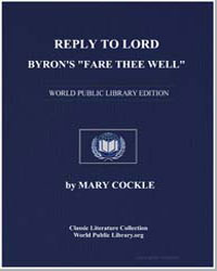 Reply to Lord Byron's Fare Thee Well by Cockle, Mary